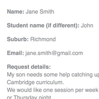 Example image of a student enquiry email to a tutor.